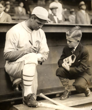 Philadelphia Athletics' Jimmie Foxx with a young fan, 1930 - BL-2920-75 (National Baseball Hall of Fame Library)