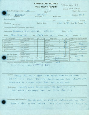 1978 Free Agent report on Cal Ripken, Jr. by Kansas City Royals scout, Tom Ferrick. In this report, Ripken was scouted as a pitcher only. BL-2346-2004 (National Baseball Hall of Fame Library)