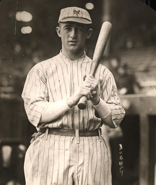 Frankie Frisch, New York Giants, at the Polo Grounds before Game Four of the World Series, October 9, 1921 - BL-1487-68a (National Baseball Hall of Fame Library)