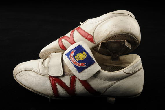 Shoes worn by Yataka Fukumoto during the 1987 season. B-406.87a,b (Milo Stewart, Jr. / National Baseball Hall of Fame)