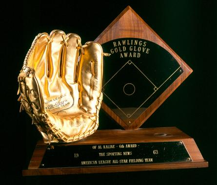 1963 Rawlings Gold Glove Award presented to OF Al Kaline, Detroit Tigers - B-292-79 (Milo Stewart Jr./National Baseball Hall of Fame Library)
