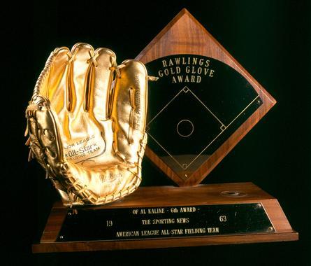 1963 Rawlings Gold Glove Award presented to OF Al Kaline, Detroit Tigers - B-292-79 (Milo Stewart Jr./National Baseball Hall of Fame Library)