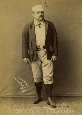 Old Judge cabinet card for Pud Galvin of the Pittsburgh Alleghenys (NL), c. 1888. Pose code 177-2 - BL-141-46 (National Baseball Hall of Fame Library)