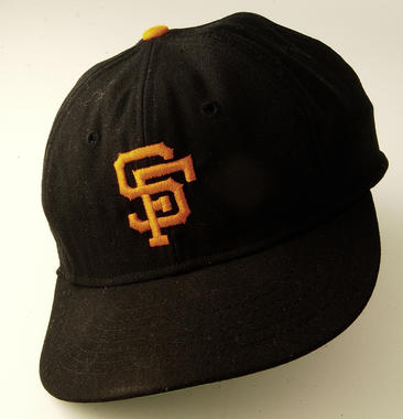 San Francisco Giants cap worn by Gaylord Perry when he pitched a no-hitter, Sept. 17, 1968 - B-325-68 (Milo Stewart Jr./National Baseball Hall of Fame Library)