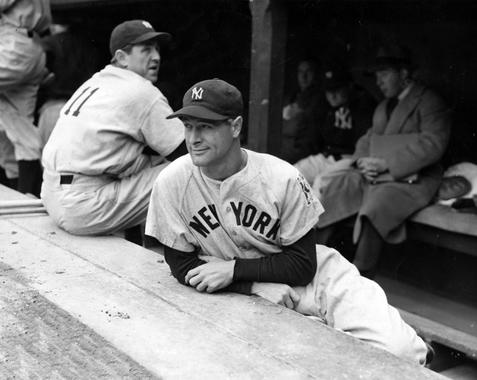 New York Yankees' Lou Gehrig after pulling himself out of the line up on May 2, 1939 at Detroit's Briggs Stadium - BL-1489-68 (National Baseball Hall of Fame Library)