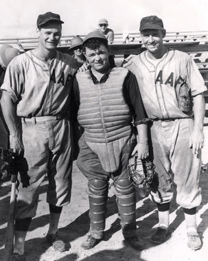 New York Yankees Joe Gordon with two of his military baseball teammates c. 1945.