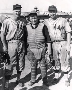 New York Yankees Joe Gordon with two of his military baseball teammates c. 1945.