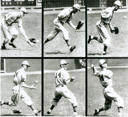 Pete Gray fielding a ball in the outfield. BL-11821.95