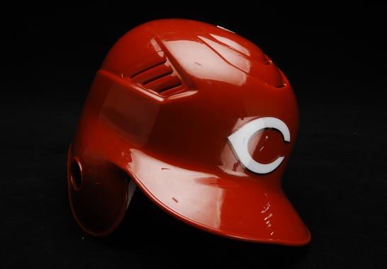 Batting helmet worn by Ken Griffey, Jr. on June 9, 2008 when he recorded his 600th career home run. The home run came off Florida Marlins pitcher Mark Hendrickson in Miami. B-173-2008  (Milo Stewart Jr. / National Baseball Hall of Fame)