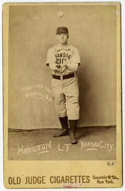 Old Judge cabinet card for Billy Hamilton of the Kansas City Cowboys (AA), 1889. Pose 210-4 - BL-141-46 (National Baseball Hall of Fame Library)
