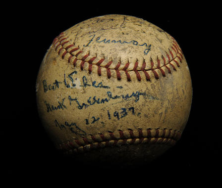 Ball hit completely out of Fenway Park in Boston, to the right of the centerfield flagpole, by Hank Greenberg, May 22, 1937 - B-387-69 (Milo Stewart Jr./National Baseball Hall of Fame Library)