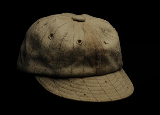 Red Sox cap worn by Harry Hooper with the Boston Red Sox, with holes in the brim to attach flip-down sunglasses - B-195-71 (Milo Stewart Jr./National Baseball Hall of Fame Library)