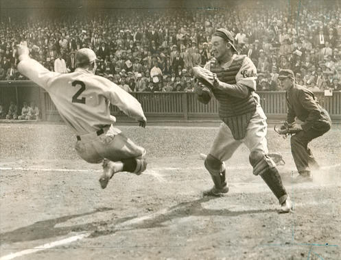 Chicago Cubs Catcher Gabby Hartnett prepares to tag Dick Bartell of the Philadelphia Phillies and prevent an inside-the-park home run, September 17, 1932 - BL-1519-68 (National Baseball Hall of Fame Library)