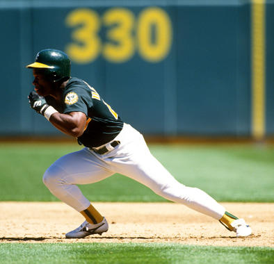 Rickey Henderson of the Oakland Athletics runs the bases during a game at the Oakland Coliseum. BL-053010-R-Henders-01 (Ron Vesely / National Baseball Hall of Fame Library)