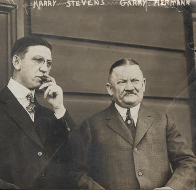 """August """"Gary"""" Herrmann photographed with Harry Stevens, ballpark food concessionaire. BL-6311.72 (National Baseball Hall of Fame Library)"""