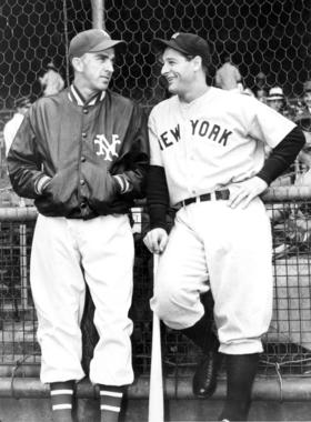 Carl Hubbell (left) and Lou Gehrig converse before a World Series game. The two Hall of Famers faced each other during the 1936 and 1937 World Series. BL-1498-68-WT (National Baseball Hall of Fame Library)
