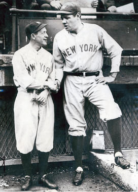 New York manager Miller Huggins with Babe Ruth - BL-1499-68 (National Baseball Hall of Fame Library)
