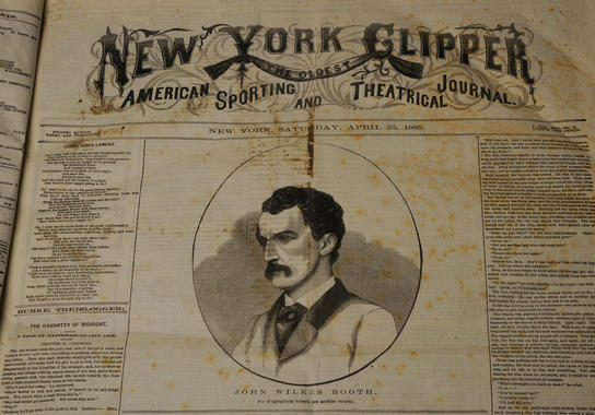 John Wilkes Booth, who assassinated President Abraham Lincoln, was featured on a woodcut on the front of the New York Clipper just eight days after Lincoln was shot. (Milo Stewart, Jr. / National Baseball Hall of Fame)