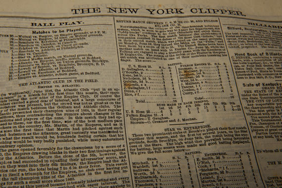 The New York Clipper was a weekly newspaper which featured  rudimentary box scores of baseball games – both professional and amateur – as well as write-ups of contests from the New York area and around the country. Photographed is a closer view of the