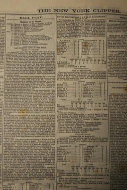The New York Clipper was a weekly newspaper which featured news about the theater and sports communities. The paper featured rudimentary box scores of baseball games – both professional and amateur – as well as write-ups of contests from the New York area and around the country. This issue features a write-up of a contest between the Atlantic and Empire Clubs. (Milo Stewart, Jr. / National Baseball Hall of Fame)