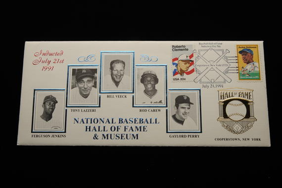 The National Baseball Hall of Fame and Museum has regularly issued stamp cachets to celebrate induction classes, like this one featuring the Class of 1991 and was cancelled with stamps featuring Roberto Clemente and Jackie Robinson. (National Baseball Hall of Fame Library)