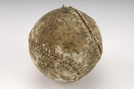 Baseball used for the first four innings in Game One of the first modern World Series, 1903. Cy Young started for Boston and threw the first pitch - B-41-41 (Milo Stewart Jr./National Baseball Hall of Fame Library)