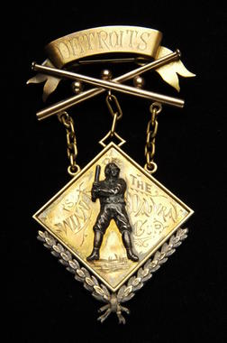 Medal given by actress Helen Dauvray to members of the Detroit Wolverines (NL) for winning the National League/American Association World Series of 1887. Dauvray awarded a cup (namd after herself) to the winning team, and these medals to the members of the team.B-122.81 (Milo Stewart, Jr. / National Baseball Hall of Fame)