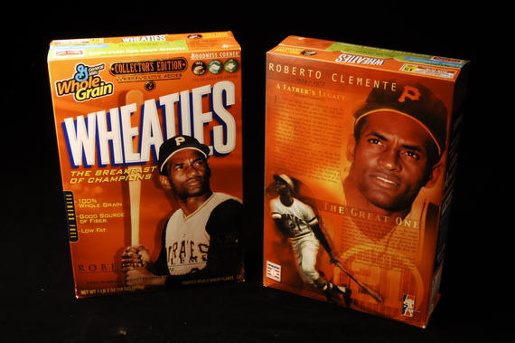 Wheaties cereal box featuring Clemente. (Milo Stewart, Jr., National Baseball Hall of Fame Library)