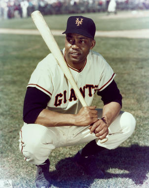 Monte Irvin of the New York Giants posed on the field with his bat, c. 1988. - BL-7168.89 (Photo File / National Baseball Hall of Fame Library)