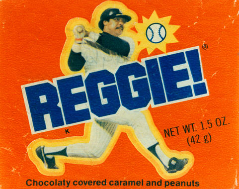 Inspired by Reggie Jackson's World Series MVP, a candy bar, called the Reggie Bar, was introduced before the start of the 1978 season to commemorate Mr. October's performance. - B-125.93 (National Baseball Hall of Fame)