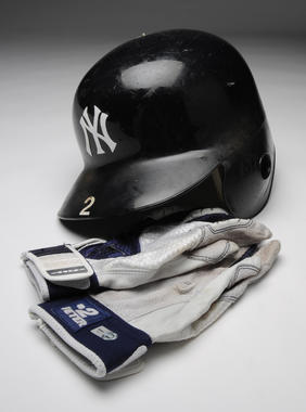 Batting gloves and helmet from Derek Jeter's 3000th hit - BL-136, 137-2001 (Milo Stewart Jr./National Baseball Hall of Fame Library)