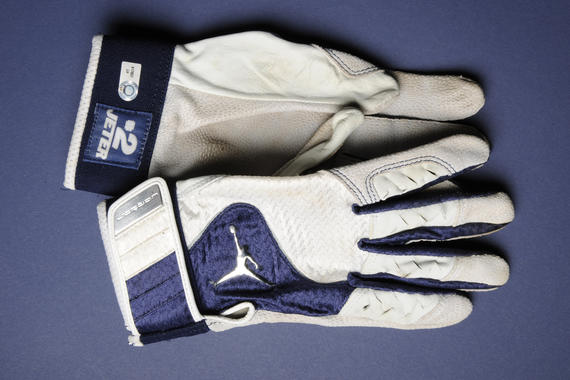 Batting gloves worn September 11, 2009 when he recorded his 2,722nd career hit at Yankee Stadium, passing the previous record for most hits by a Yankee, previously held by Lou Gehrig - B-325-2009 (Milo Stewart Jr./National Baseball Hall of Fame Library)