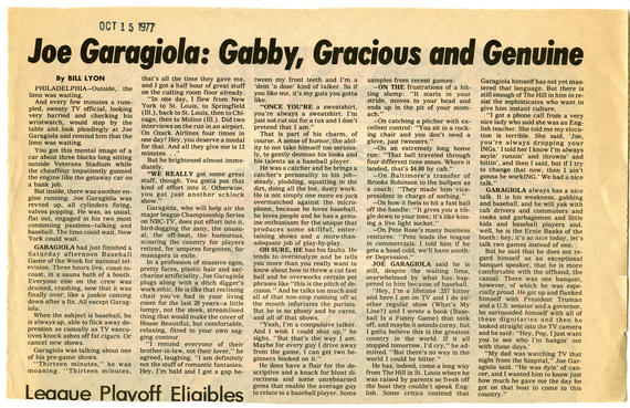 A book review of Joe Garagiola's best-selling book,
