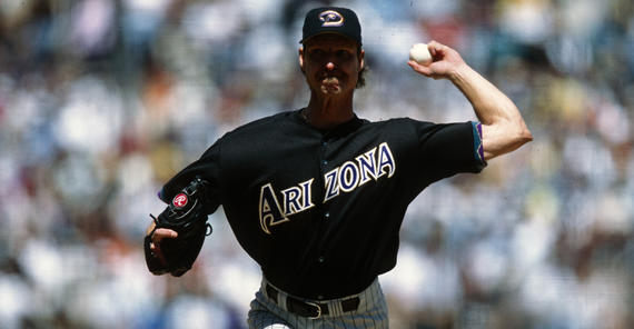 Game action of Randy Johnson of the Arizona Diamondbacks May 28, 2001. BL-12-2012-965 (Brad Mangin / National Baseball Hall of Fame Library)