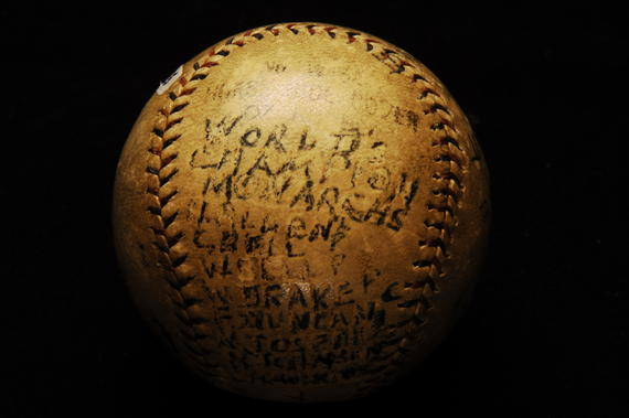 World Champion Monarchs baseball from 1924, listing the players - B-443-85 (Milo Stewart Jr./National Baseball Hall of Fame Library)