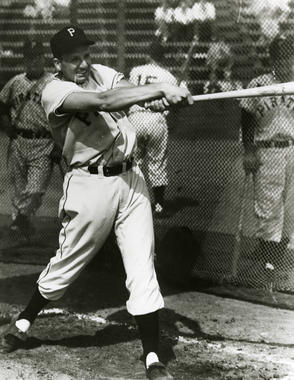 Pittsburgh Pirates Ralph Kiner taking batting practice - BL- 1732-99 (National Baseball Hall of Fame Library)