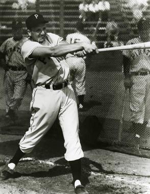Pittsburgh Pirates Ralph Kiner taking batting practice - BL- 1732-99 (National Baseball Hall of Fame Library)