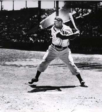 Walter Leonard batting in game as Homestead Gray, c. 1943 - BL-2389-71 (National Baseball Hall of Fame Library)