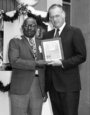 Buck Leonard being presented with his Hall of Fame plaque, Cooperstown, NY, August 7, 1972 (National Baseball Hall of Fame Library)