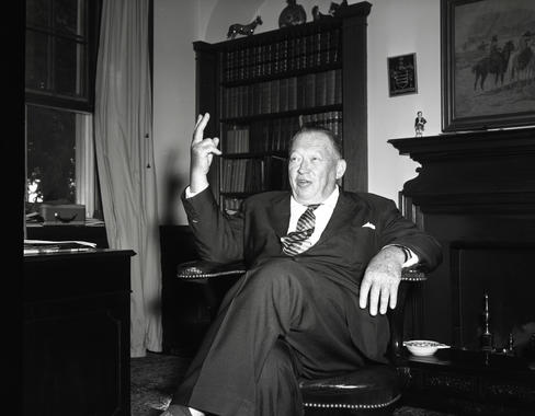 Leland S. MacPhail, Sr. in his office - BL-526-70 (Don Wingfield/National Baseball Hall of Fame Library)