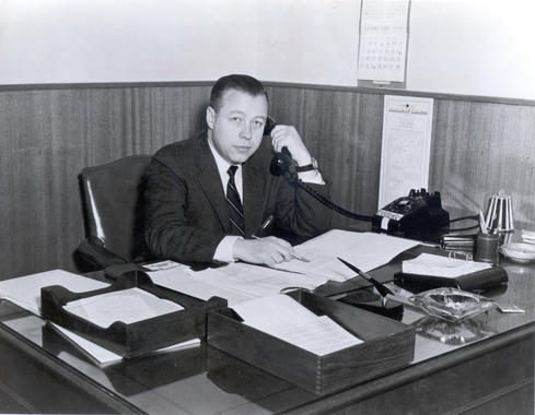 Lee MacPhail at his desk - BL-3367 (National Baseball Hall of Fame Library)