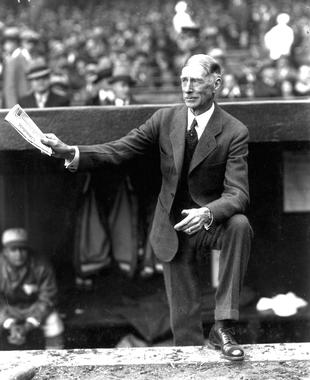 Connie Mack in the Philadelphia Athletics dugout - BL-2381 (National Baseball Hall of Fame Library)