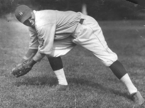 Biz Mackey posed fielding as a Hilldale Giant - BL-5804-79 (National Baseball Hall of Fame Library)