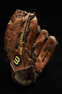 Glove used by Atlanta Braves pitcher Greg Maddux during the 1995 season and World Series B-50.96 (Milo Stewart Jr./National Baseball Hall of Fame Library)