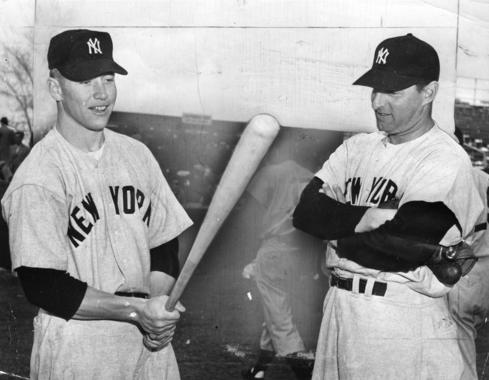 Mickey Mantle with Tommy Henrich during Spring Training, 1951.  BL-2784.69WT (National Baseball Hall of Fame Library)