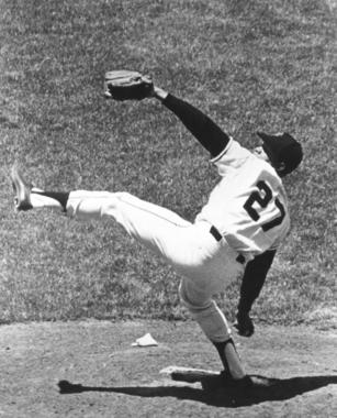 Juan Marichal in his signature windup. BL-3102.73 (National Baseball Hall of Fame Library)