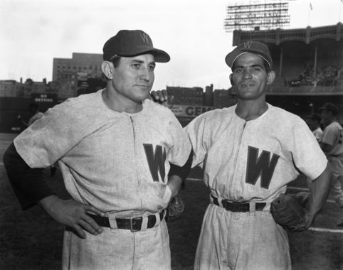 Connie Marrero and YoYo Davalillo of the Chicago White Sox at Yankee Stadium. (Osvaldo Salas Collection / National Baseball Hall of Fame Library)