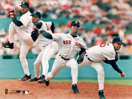Pitching sequence of Pedro Martinez, Boston Red Sox #45, home uniform, c. 2000. - BL-4239.2000 (PhotoFile / National Baseball Hall of Fame Library)