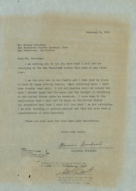 Letter from Masanori Murakami to Horace Stoneham, owner of the San Francisco Giants, February, 8, 1965  (National Baseball Hall of Fame Library)