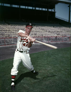 Eddie Mathews posing with bat, Look Magazine shoot, c. 1955 - BL-278-60j (Look Magazine/National Baseball Hall of Fame Library)